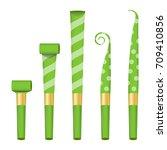 blower horn set vector. green... | Shutterstock .eps vector #709410856