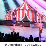 dance with hoops. yalta  crimea ... | Shutterstock . vector #709412872