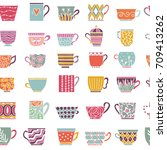 cute tea cups seamless pattern. ... | Shutterstock .eps vector #709413262