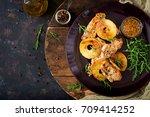 chicken fillet with apples... | Shutterstock . vector #709414252