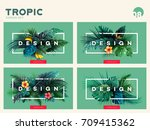 set of bright tropical... | Shutterstock .eps vector #709415362