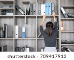 secretary or purchasing manager ... | Shutterstock . vector #709417912
