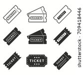 ticket vector icons set. black... | Shutterstock .eps vector #709418446