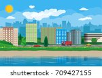 city view. cityscape. office... | Shutterstock .eps vector #709427155