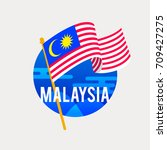 the flag of malaysia...   Shutterstock .eps vector #709427275