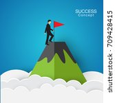 success concept  flag on the... | Shutterstock .eps vector #709428415