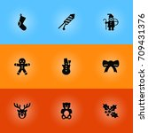 set of 9 holiday icons set... | Shutterstock .eps vector #709431376