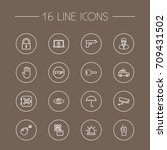 set of 16 safety outline icons... | Shutterstock .eps vector #709431502