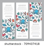 set of three digital fish and... | Shutterstock .eps vector #709437418