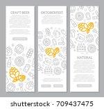 set of three digital beer  pub... | Shutterstock .eps vector #709437475