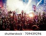 crowd at concert   summer music ... | Shutterstock . vector #709439296
