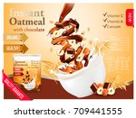 instant oatmeal with chocolate... | Shutterstock .eps vector #709441555