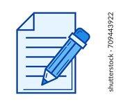 blogging vector line icon... | Shutterstock .eps vector #709443922