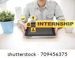 internship text on virtual... | Shutterstock . vector #709456375