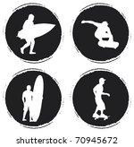 Four Grunge Circle With Skater...