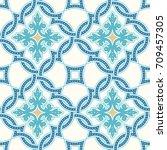 portuguese tiles  quatrefoil... | Shutterstock .eps vector #709457305