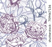 floral seamless pattern with... | Shutterstock .eps vector #709467136