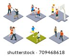 set of isometric people gaming... | Shutterstock .eps vector #709468618