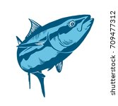 Tuna Fish Symbol On Blue...