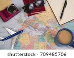 travel concept on map... | Shutterstock . vector #709485706