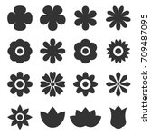 vector of flower icon set | Shutterstock .eps vector #709487095