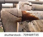 electrical conduit and rusty... | Shutterstock . vector #709489735