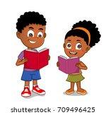 african american kids reading | Shutterstock .eps vector #709496425