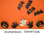top view of halloween cookies... | Shutterstock . vector #709497148