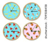clock with banana pattern set...   Shutterstock .eps vector #709508458