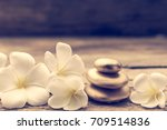 pile of golden zen stones and... | Shutterstock . vector #709514836