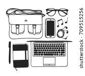 hand drawn fall fashion... | Shutterstock .eps vector #709515256
