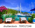 traditional greek restaurants... | Shutterstock . vector #709517248