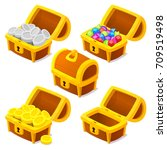 treasure chests for game. dower ... | Shutterstock .eps vector #709519498