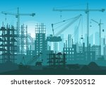 construction skyline under...   Shutterstock .eps vector #709520512