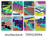 set of creative freehand cards. ...   Shutterstock .eps vector #709525096