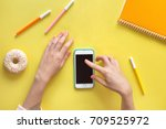 top view flat lay with feminine ... | Shutterstock . vector #709525972