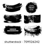 set of black paint  ink brush... | Shutterstock .eps vector #709526242