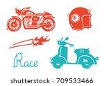 cute motorcycle vector... | Shutterstock .eps vector #709533466
