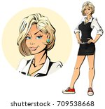 business coacher. sexy blonde... | Shutterstock .eps vector #709538668