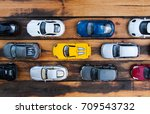 many multi colored toy cars on...   Shutterstock . vector #709543732