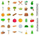 Bonsai Icons Set. Cartoon Styl...