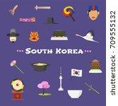 visit south korea vector icons