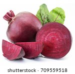 red beet or beetroot on white...