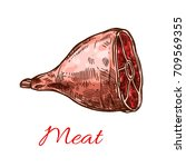 meat sketch icon. vector... | Shutterstock .eps vector #709569355