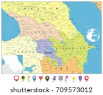 caucasus political map and flat ... | Shutterstock .eps vector #709573012