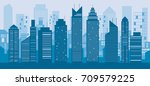 buildings and skyscrapers blue... | Shutterstock .eps vector #709579225