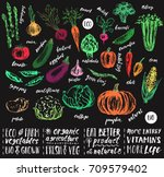 hand drawn sketch vegetables.... | Shutterstock .eps vector #709579402