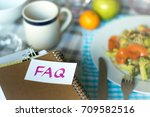 faq  stack of documents.... | Shutterstock . vector #709582516
