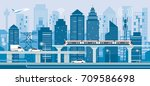 cityscape with infrastructure... | Shutterstock .eps vector #709586698