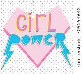 girl power cute card with